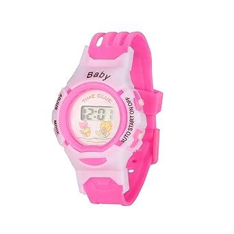 HULKY - Reloj deportivo digital electrónico para niños y niñas, color rosa