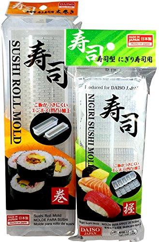 Sushi Making Press & Mold Set - 2 Items: DIY Nigiri Rice Press and Skinny Maki Roll Mold