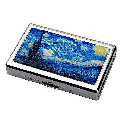 Mother of Pearl Starry Night by Van Gogh Art Painting Extra Long 100S Super Slim King Size 16 Cigarette Engraved Metal Steel RFID Blocking Protection Credit Business Card US Bill (Pattern Cigarette Case)