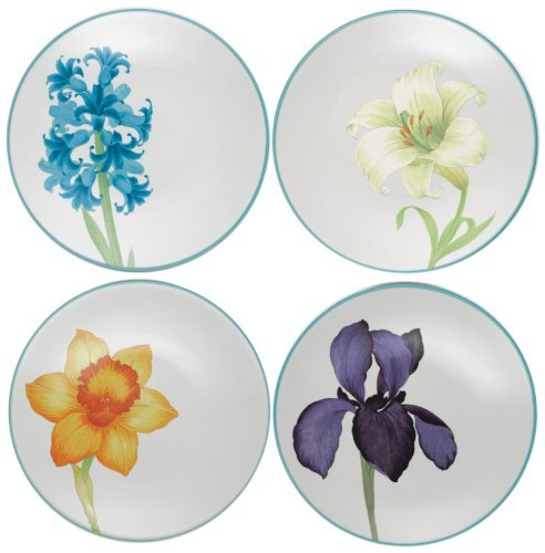 Noritake Colorwave Floral Appetizer Plates, Turquoise Blue, Set of 4 by Noritake