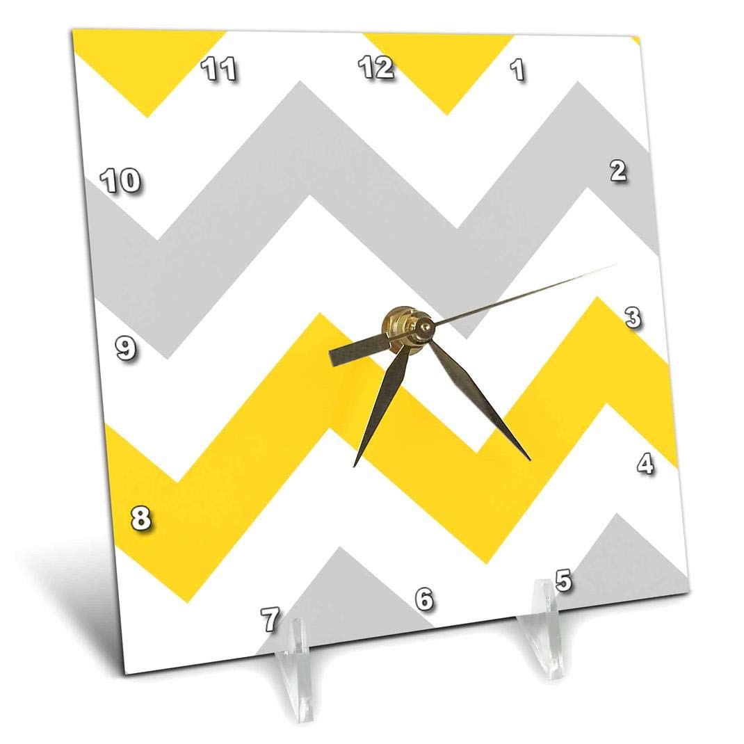 3dRose Big Yellow and Gray Chevron Zig Zag Pattern Grey White Zigzag Stripes - Desk Clock, 6 by 6-Inch (dc_179796_1) 3dRose LLC