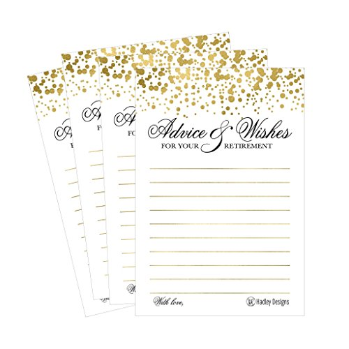 25 Gold Retirement Party Advice Well Wish Card For Men or Women Retired Supplies and Decoration Happy Retiree Celebration Gift Bucket List Wish Jar, Funny Personalized Officially Retired Centerpiece