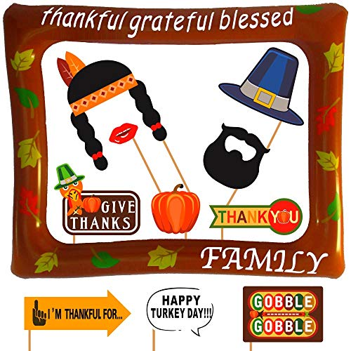 Lago Retail Thanksgiving Photo Booth Props with Inflatable Picture Frame Included - NO DIY Required Attached to The Stick - Funny Turkey Day Decorations - 27 Count
