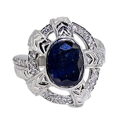 Authentic Rare Natural Blue Sapphire Men's Celtic Shield Ring 925 Silver Size 9