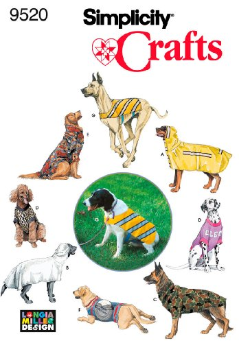 Simplicity Sewing Pattern 9520 Crafts, One (Fleece Dog Coat Pattern)