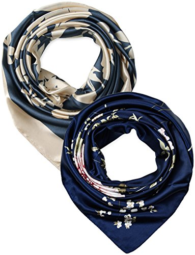 2 Pcs 35 Inches Silk Feeling Beige Charcoal Navy Flowers Square Scarf Hair Scarves ()