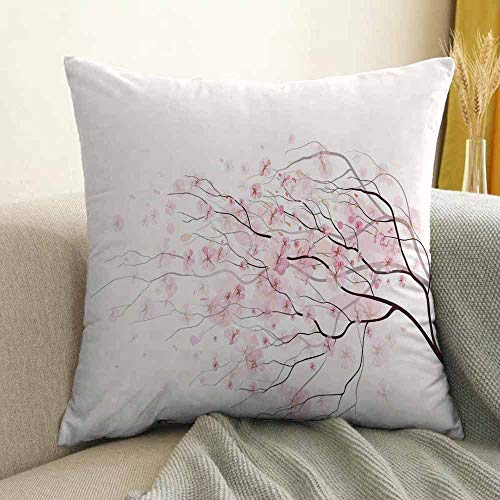 FreeKite Light Pink Bedding Soft Pillowcase Artistic Sakura Branch with Cherry Flowers Tender Japanese Spring Hypoallergenic Pillowcase W18 x L18 Inch Light Pink Black White