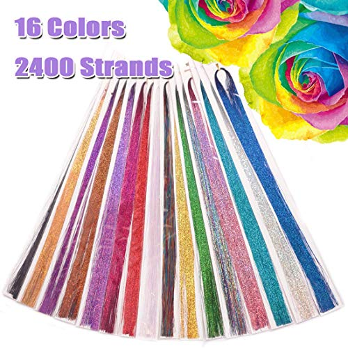Hair Tinsel Extensions 16 Colors 2400 Strands 35 Inch 16 Pack in Set Sparkling and Shiny Hair Tinsel Extensions Colored Fashion Party Highlights Glitter Extensions Bling Hair Synthetic Hairpieces