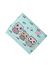 Women Girls Cartoon Owls Pattern Soft Leather Tri-fold Mini Wallet Coin Purse