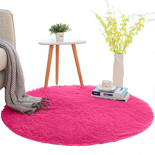 INVECHMARKET Round Area Rugs Super Soft Living Room Bedroom Home Shaggy Carpet 4CM Thickness Shaggy Rugs for Kid Room Playroom Fluffy Boys Girls Children Rug Diameter:1.96 Feet (60cm,Rose Red) ()