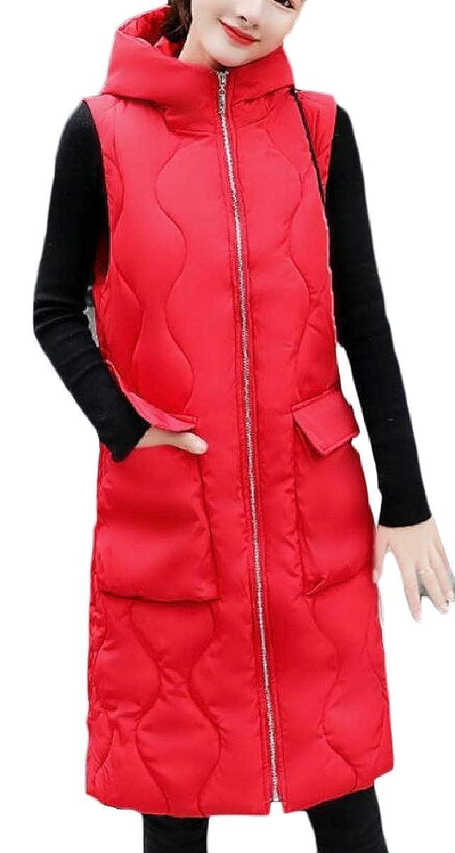 ZXFHZS-CA Women's Padded Zipper Front Quilted Puffer Long Down Vest Jacket Hood