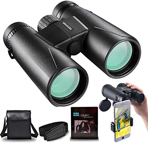 HD Professional/Daily Waterproof Binoculars Telescope for Adults Sightseeing, 10X42 Roof Prism High Power Multilayer-Coated Binoculars for Birdwatching Travel Hunting Sports-BAK4 Prism-with Case