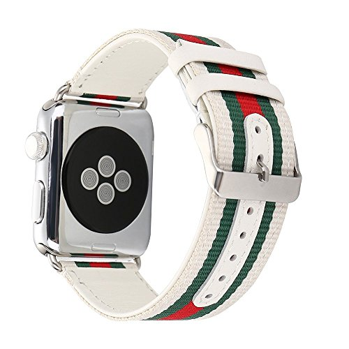 Guigong Band Compatible with Apple Watch, Nylon with Genuine Leather Sport Replacement Strap Wrist Band with Metal Adapter for Apple Watch / Sport /Edition (White 42mm)
