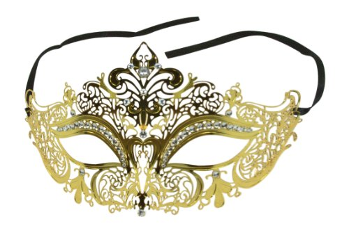 Enchanted Venetian Filigree Laser Cut Metal Masked Ball Crown Mask w/ Crystal Rhinestones (Gold)