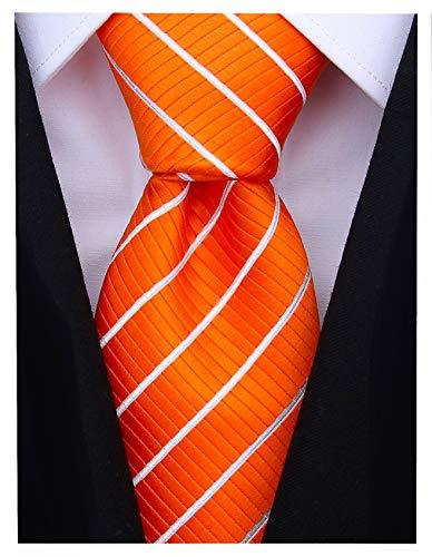 Striped Ties for Men - Woven Necktie - Orange w/White ()