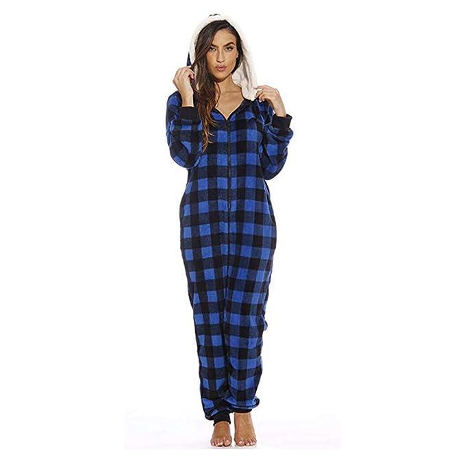 ca05ef66980fc Womens Fleece Onesie Hooded Zip Up One Piece Pajamas Sleepwear Warm Long  Sleeve Loose Plaid Tracksuit