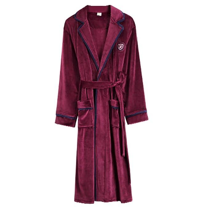 Bata De Baño Larga De Lujo De Lujo De Solapa Cuello Camisón Con Pijamas De Cinturón