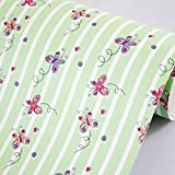 SimpleLife4U Green Striped Butterfly Shelving Paper Self Adhesive Drawer Liner Covering School Supply Storage Boxes 17.7 Inch by 13 Feet