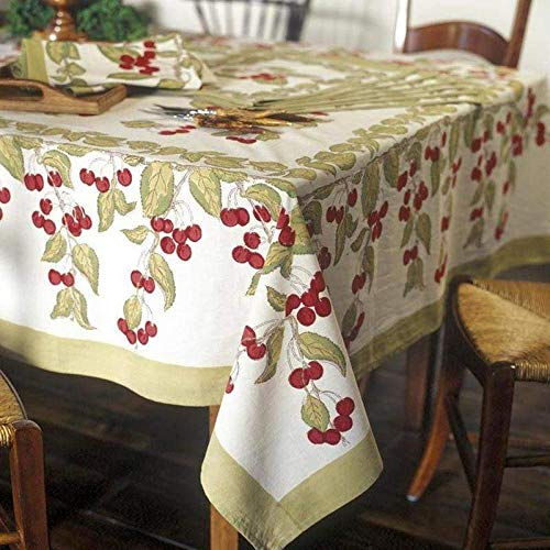 (Couleur Nature Cherry Red/Green Tablecloth, 70