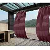 Macochico 150Wx 84L Burgundy Extra Wide Outdoor Waterproof Curtains Blackout Draperies Panels for Patio Garden Backyard Gazebo Cabana Windproof Thermal Insulated Privacy Protection (1 Panel)