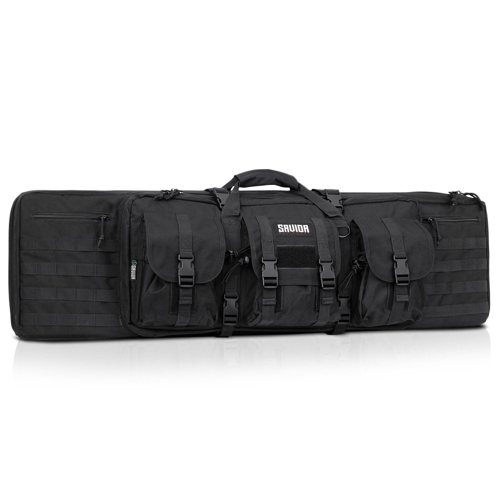 Savior Equipment American Classic Tactical Double Long Rifle Pistol Gun Bag Firearm Transportation Case w/Backpack - 42 Inch Obsidian Black