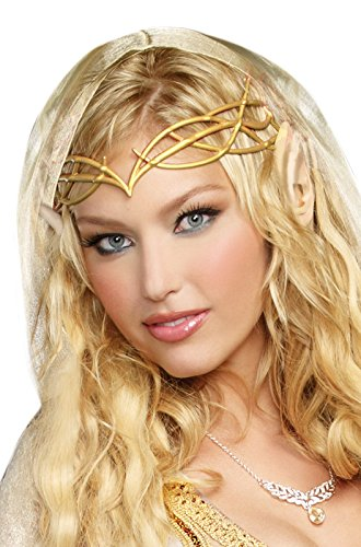 Dreamgirl Women's Elf Princess Kit, Gold, One Size (Elf Princess Costume Kit)