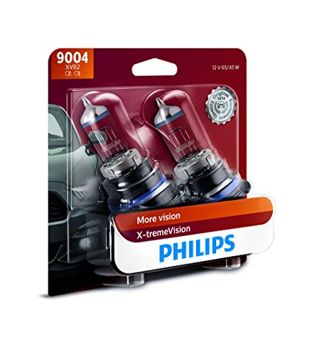 Philips 9004 X-tremeVision Upgrade Headlight Bulb with up to 100% More Vision, 2 Pack ()
