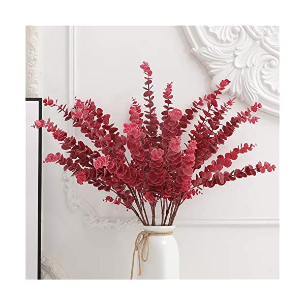 FuleHouzz 3 Pcs Soft Touch Artificial Eucalyptus Leaves Spray Fake Silver Dollar Greenery Stems for Home Wedding Floral Arrangement, Red