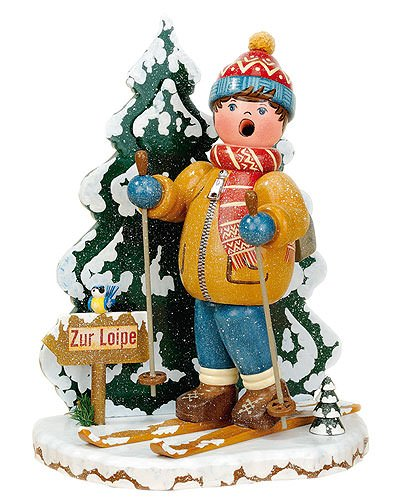 German Incense Smoker Winterchild Snow riders - 20cm / 8inch - Hubrig Volkskunst