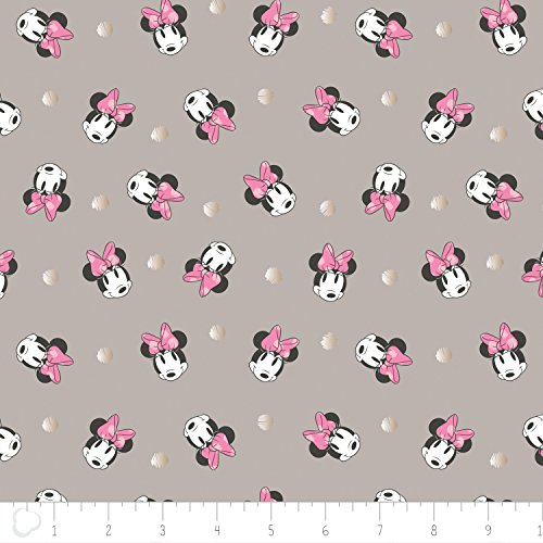 Disney Minnie Mouse Fabric Face Dot in Gray with Champagne Metallic Print 100% Cotton by the Yard Minnie Mouse Fabric