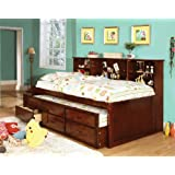 Furniture of America Lemoine Captain Twin Bed with Twin Trundle and 3 Drawers, Cherry Finish