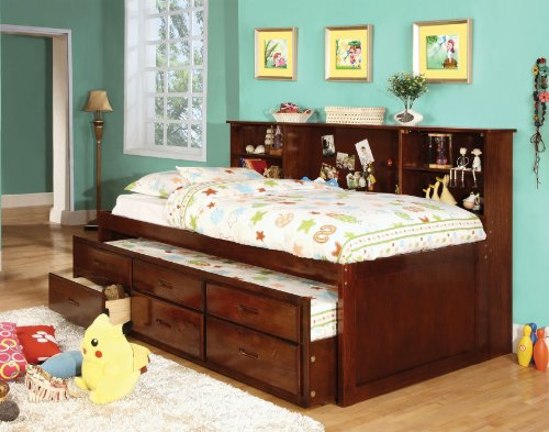 Amazon.com: Furniture Of America Lemoine Captain Twin Bed With Twin Trundle  And 3 Drawers, Cherry Finish: Kitchen U0026 Dining