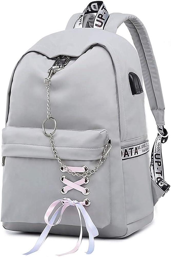 Teen Girl School Backpack USB Charging Port 16 Inch Laptop Bag Travel Daypack
