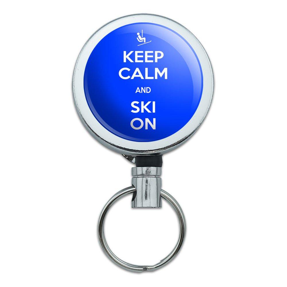 , versenkbare Reel ID Schlüsselanhänger mit Gürtelclip Keep Calm and P-W 345077-R Ski On