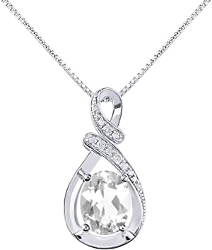 "Diamond & White Topaz Pendant Necklace in 14K White Gold With 18"" Gold Chain - April Birthstone 9X7 Oval Color Stone""S"" Designer"
