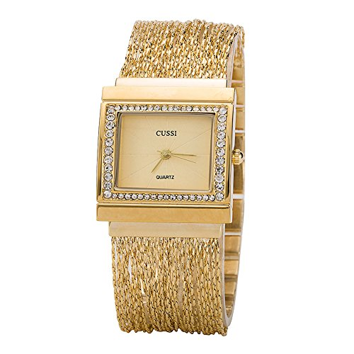 Ladies Square Crystal Bracelet Dress Wrist Watch for Women – Female Gold, Rose Gold, Silver
