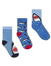 Boys 3 Pack of Novelty Shark Design Socks