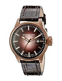 Stuhrling Original Men`s 468.3365K59 Octane Concorso Classic Swiss Quartz Date Brown Leather Strap Watch