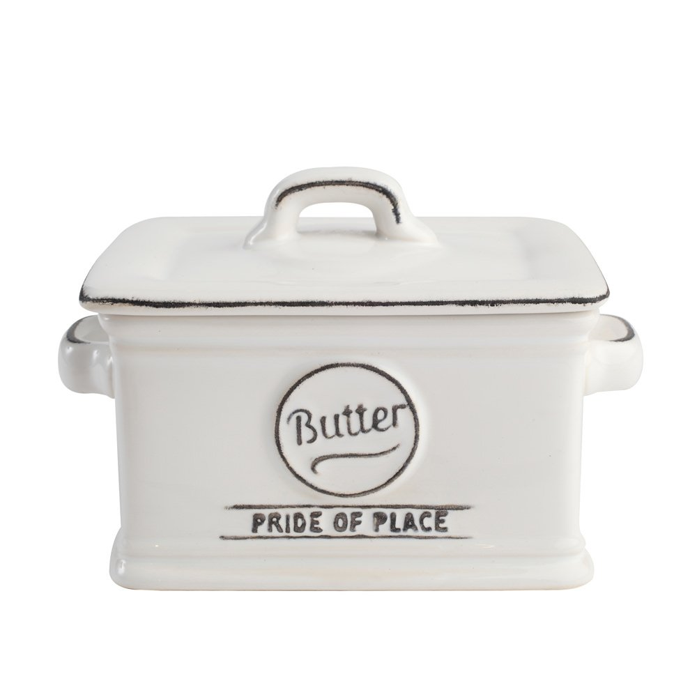 T&G Woodware Pride of Place Deep Lidded British Butter Dish, White 130101