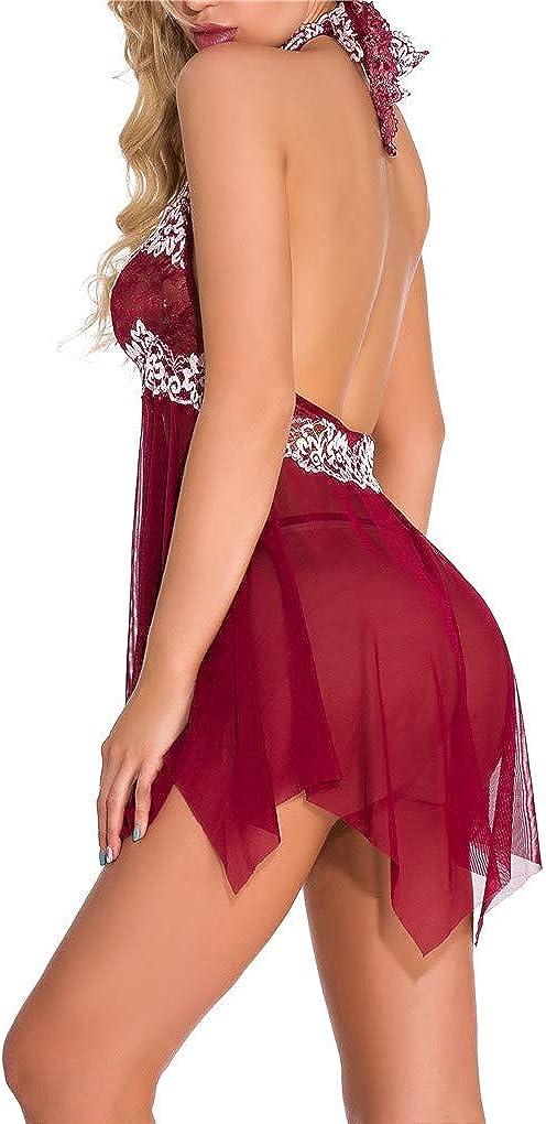 Fenxxxl Womens Plus Size Floral Lace Lingerie Bodysuit Off Shoulder Babydoll Chemises See Through Teddy Dress