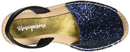 Menorquísima 46076700, Sandalias con Plataforma Plana para Mujer Azul (Glitter Marino)