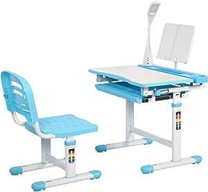 Diroan Kids Functional Desk and Chair Set, Height Adjustable Children School Study Desk with Tilt Desktop, Bookstand, LED Light, Metal Hook and Storage Drawer for Boys Girls (Blue)