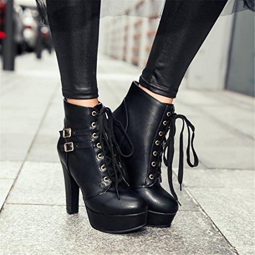 YE Damen High Heels Plateau Stiefeletten mit Schnürung Blockabsatz Schnallen Herbst Winter Short Ankle Boots Schuhe Schwarz