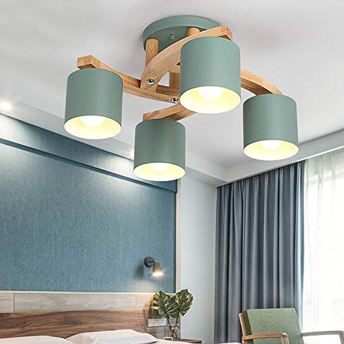 (GL-63860, Green Chandeliers Metal Lampshade, Modern Macaron Design Overhead Light Fixtures Semi Flush, Wooden Ceiling Light Round Shape for Study Room Bedroom Guest Room 4)