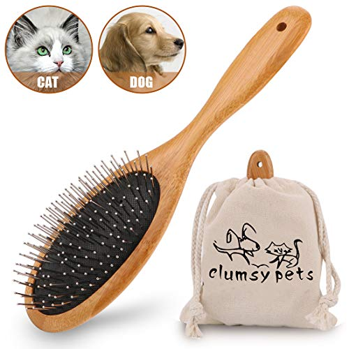 clumsy pets Bamboo Cat Hair Brush and Dog Hair Remover Brush Dog Pin Brush-Cat Brush and Cat Hair Remover-Pet Brush and…