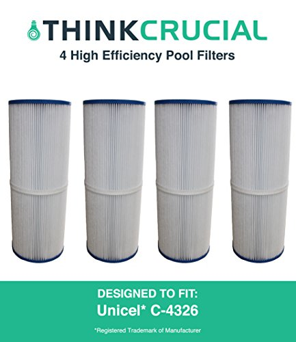 Rainbow Cartridge Filter (4 Replacements for Unicel Pool Filter Fits C-4326, Pleatco PRB25-IN, Filbur FC-2375 & Rainbow Dynamic 25, Fits Multiple Pools & Spas, by Think Crucial)