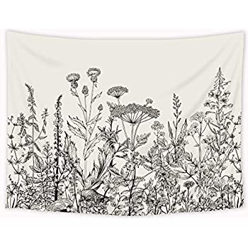 Riyidecor Wild Floral Tapestry 80x60 Inch Botanical Black and White Herbs Plant Nature Tapestry Flower Blossom Leaf Sketch Wall Hanging Indigenous Bedroom Living Room