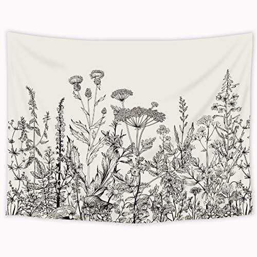 (Riyidecor Wild Floral Tapestry 80x60 Inch Botanical Black and White Herbs Plant Nature Tapestry Flower Blossom Leaf Sketch Wall Hanging Indigenous Bedroom Living Room )