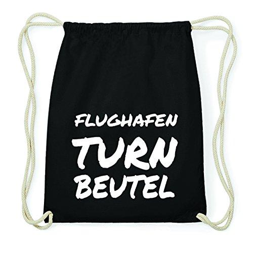JOllify FLUGHAFEN Hipster Turnbeutel Tasche Rucksack aus Baumwolle - Farbe: schwarz Design: Turnbeutel
