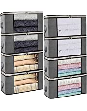Isbasa 8 Pack 36L Foldable Clothes Organizer Clothing Storage Bags with Clear Window Sturdy Zipper and Reinforced Handle for Blankets, Clothes, Bedding, Grey